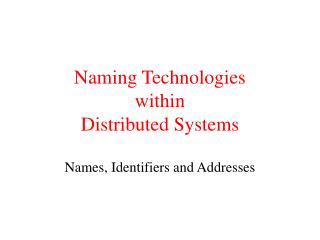Naming Technologies within  Distributed Systems