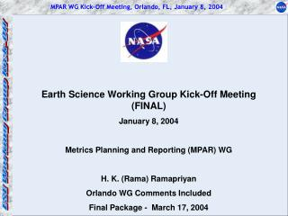 MPAR WG Kick-Off Meeting, Orlando, FL, January 8, 2004