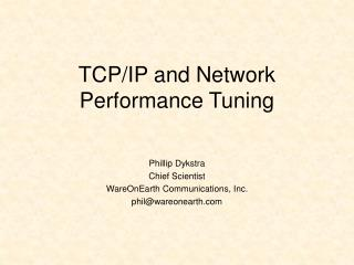 TCP/IP and Network Performance Tuning