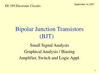 Bipolar Junction Transistors BJT