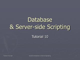 Database  & Server-side Scripting