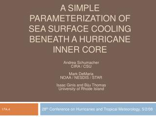 A simple parameterization of sea surface cooling beneath a hurricane inner core