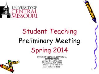 Student Teaching Preliminary Meeting Spring 2014