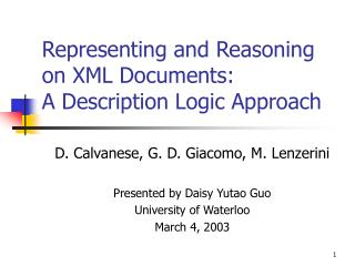 Representing and Reasoning on XML Documents: A Description Logic Approach