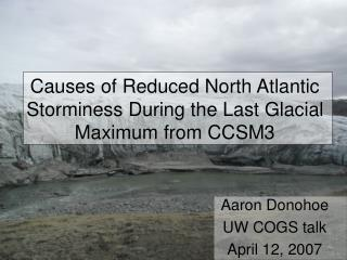 Causes of Reduced North Atlantic Storminess During the Last Glacial Maximum from CCSM3