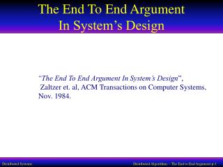 The End To End Argument  In System's Design