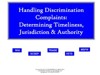 Handling Discrimination Complaints:  Determining Timeliness, Jurisdiction & Authority