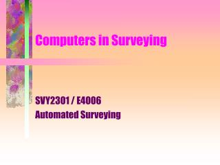 Computers in Surveying