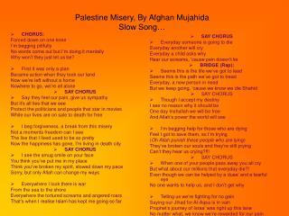 Palestine Misery, By Afghan Mujahida Slow Song…