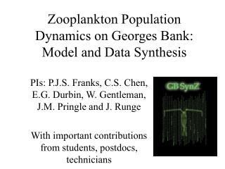 Zooplankton Population Dynamics on Georges Bank: Model and Data Synthesis