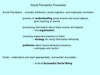 Social Perception Processes