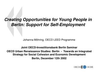 Creating Opportunities for Young People in Berlin: Support for Self-Employment