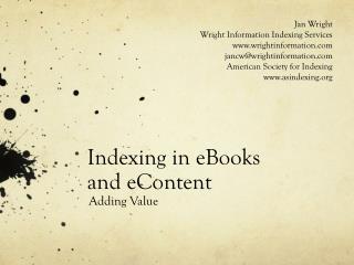 Indexing in eBooks  and eContent