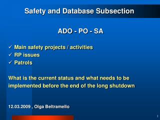Safety and Database Subsection ADO - PO - SA Main safety projects / activities  RP issues