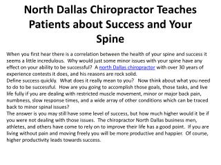 North Dallas Chiropractor Teaches Patients about Success and