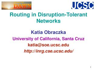 Routing in Disruption-Tolerant Networks