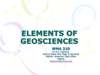 ELEMENTS OF GEOSCIENCES