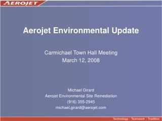 Aerojet Environmental Update