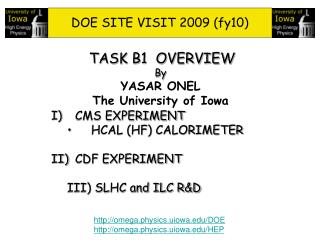 DOE SITE VISIT 2009 (fy10)