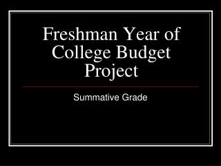 Freshman Year of College Budget Project