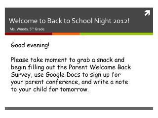 Welcome to Back to School Night 2012!
