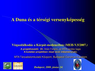 Vízgazdálkodás a Kárpát-medencében (MEH-V.5/2007.)