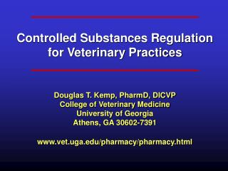 Controlled Substances Regulation for Veterinary Practices