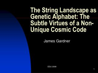 The String Landscape as Genetic Alphabet: The Subtle Virtues of a Non-Unique Cosmic Code