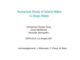 Numerical Study of Island Wake in Deep Water