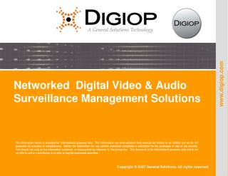Networked  Digital Video & Audio Surveillance Management Solutions