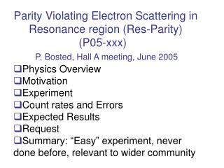 Parity Violating Electron Scattering in Resonance region (Res-Parity)