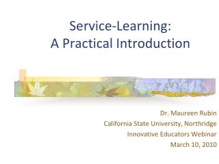 Service-Learning:  A Practical Introduction