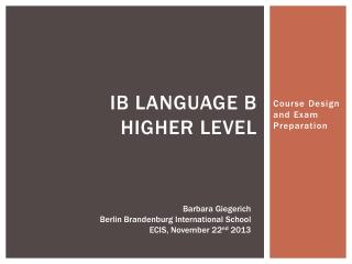 IB Language B Higher level