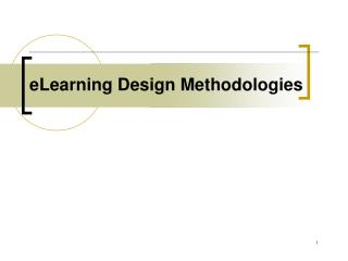eLearning Design Methodologies