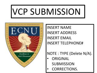 VCP SUBMISSION