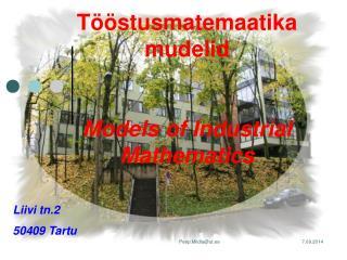 Tööstusmatemaatika mudelid Models of Industrial Mathematics