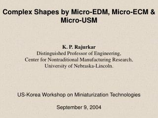 K. P. Rajurkar Distinguished Professor of Engineering,