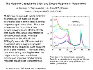The Magneto-Capacitance Effect and Electro-Magnons in Multiferroics