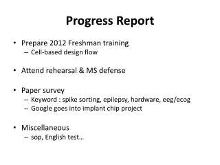 Progress Report