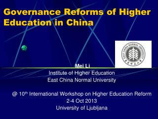 Governance Reforms of Higher Education in China