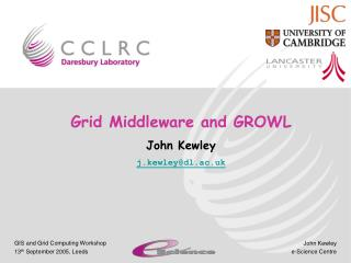 Grid Middleware and GROWL John Kewley j.kewley@dl.ac.uk