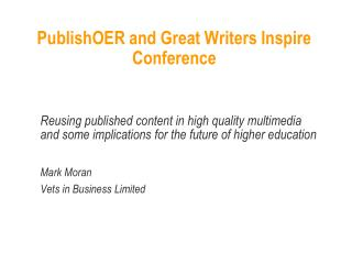 PublishOER and Great Writers Inspire Conference
