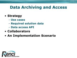 Data Archiving and Access