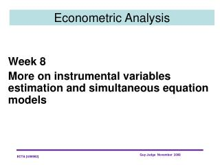 Econometric Analysis