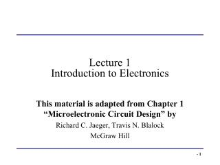 Lecture 1 Introduction to Electronics