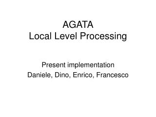 AGATA Local Level Processing