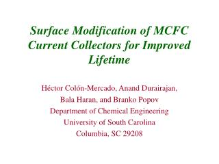 Surface Modification of MCFC Current Collectors for Improved Lifetime