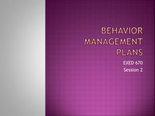 Behavior Management Plans