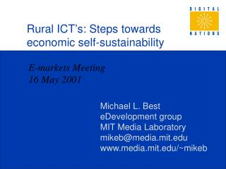 Rural ICT's: Steps towards economic self-sustainability