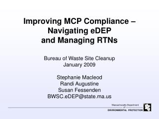Improving MCP Compliance – Navigating eDEP and Managing RTNs